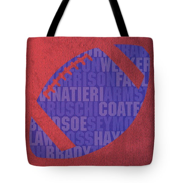 New England Patriots Football Team Typography Famous Player Names On Canvas Tote Bag by Design Turnpike
