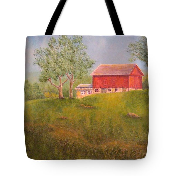 New England Red Barn At Sunrise Tote Bag by Pamela Allegretto