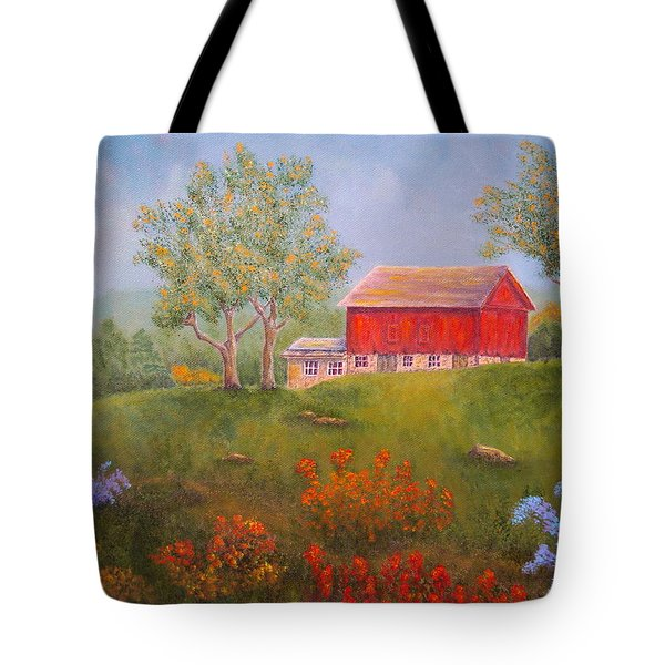 New England Red Barn Summer Tote Bag by Pamela Allegretto