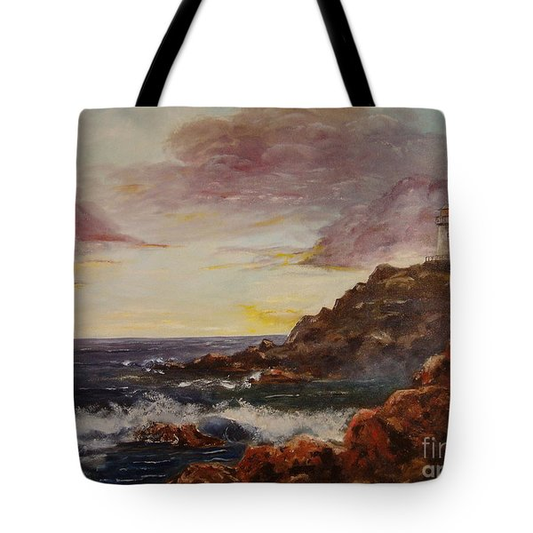 Tote Bag featuring the painting New England Storm by Lee Piper