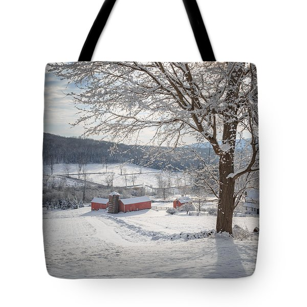 New England Winter Farms Morning Tote Bag by Bill Wakeley