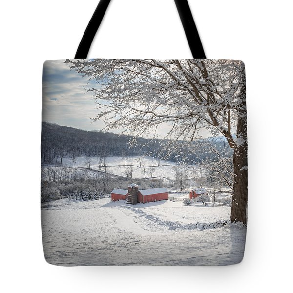 New England Winter Farms Morning Square Tote Bag by Bill Wakeley