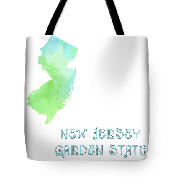 New Jersey - Garden State - Map - State Phrase - Geology Tote Bag by Andee Design