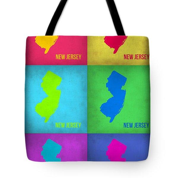 New Jersey Pop Art Map 1 Tote Bag by Naxart Studio
