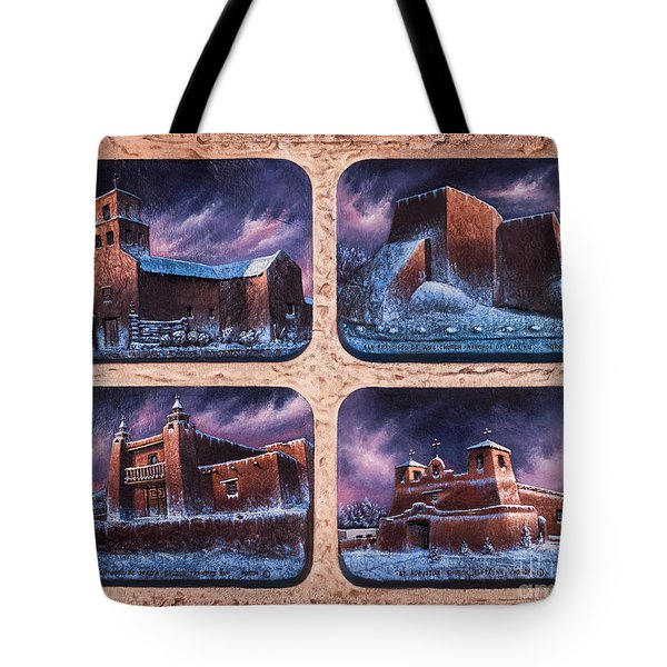 New Mexico Churches In Snow Tote Bag by Ricardo Chavez-Mendez