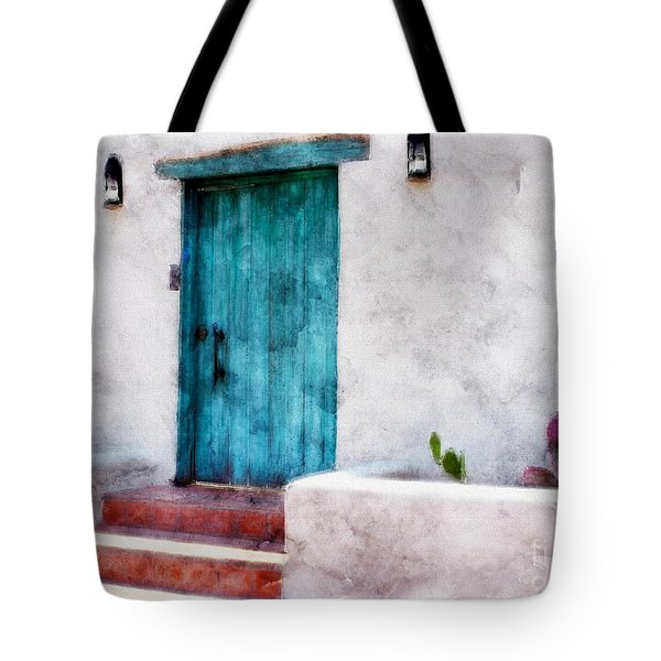 New Mexico Turquoise Door And Cactus  Tote Bag