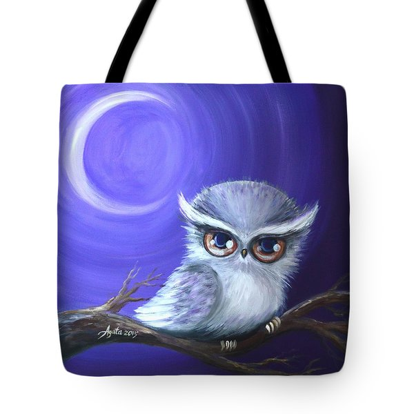 Tote Bag featuring the painting New Moon Owl by Agata Lindquist