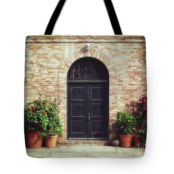New Orleans Courtyard Door Tote Bag