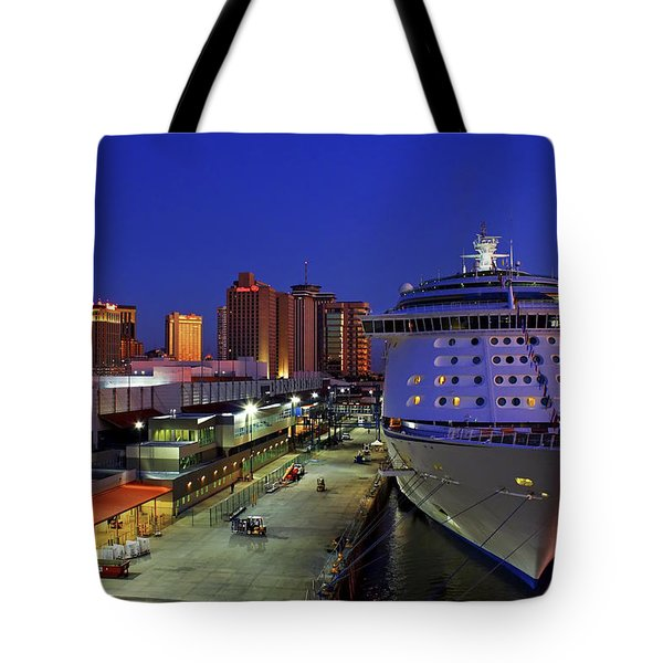 New Orleans Skyline With The Voyager Of The Seas Tote Bag