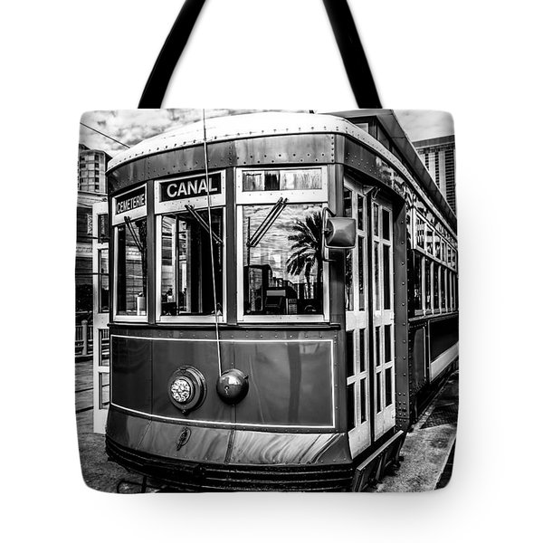 New Orleans Streetcar Black And White Picture Tote Bag by Paul Velgos