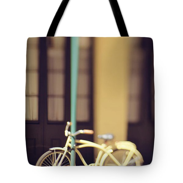 Tote Bag featuring the photograph New Orleans Yellow Bicycle by Heather Green