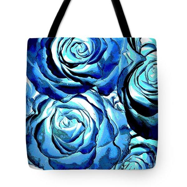 Pop Art Blue Roses Tote Bag