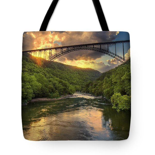 New River Evening Glow Tote Bag