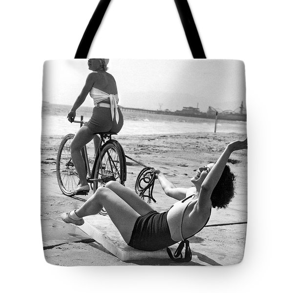 New Sport Of Ice Planing Tote Bag by Underwood Archives