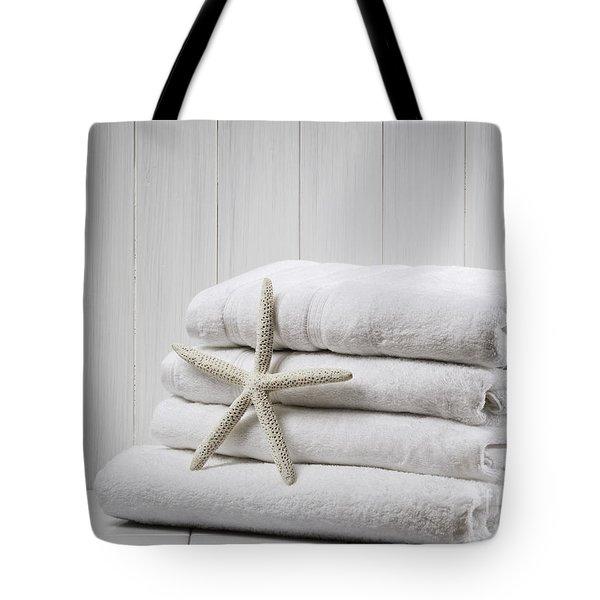 New White Towels Tote Bag by Amanda Elwell
