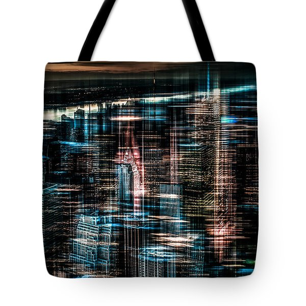 New York - The Night Awakes - Dark Tote Bag by Hannes Cmarits