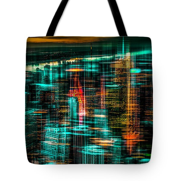 New York - The Night Awakes - Green Tote Bag by Hannes Cmarits