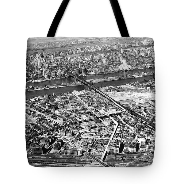 New York 1937 Aerial View  Tote Bag by Underwood Archives