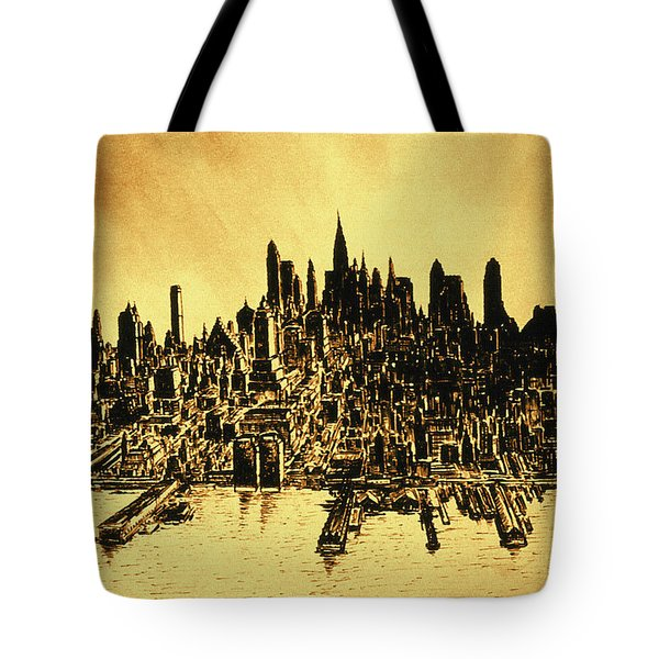 New York Skyline 78 - Mid Manhattan Ink Watercolor Painting Tote Bag