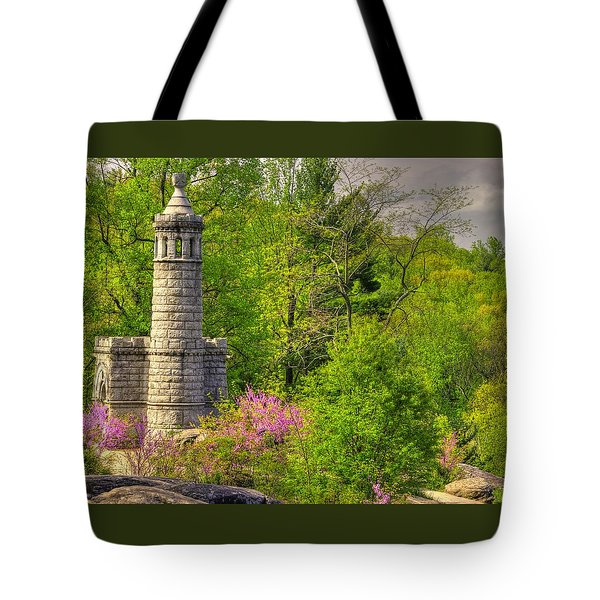 New York At Gettysburg - Monument To 12th / 44th Ny Infantry Regiments-1a Little Round Top Spring Tote Bag by Michael Mazaika