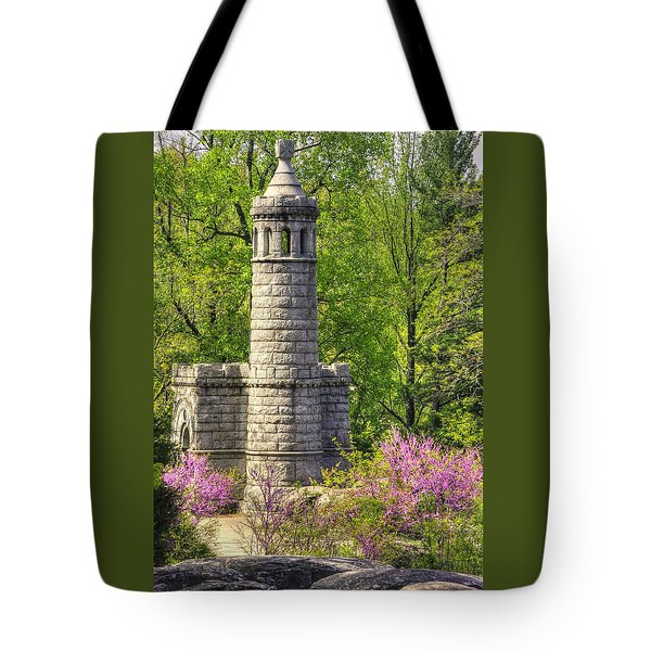 New York At Gettysburg - Monument To 12th / 44th Ny Infantry Regiments-2a Little Round Top Spring Tote Bag by Michael Mazaika
