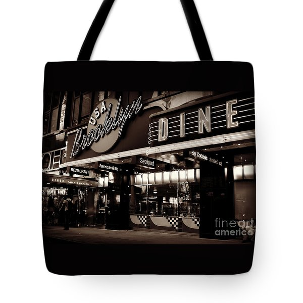 New York At Night - Brooklyn Diner - Sepia Tote Bag by Miriam Danar