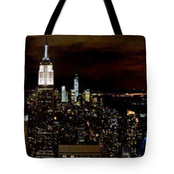 New York At Night Panorama Tote Bag