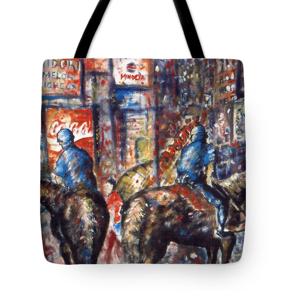 New York Broadway At Night - Oil On Canvas Painting Tote Bag