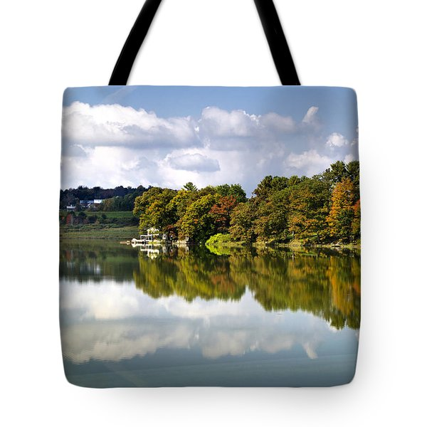Tote Bag featuring the photograph New York Cincinnatus Lake by Christina Rollo