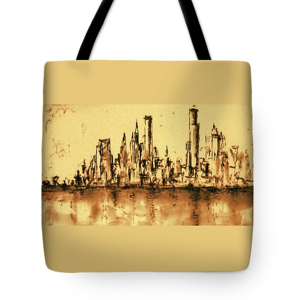 New York City Skyline 79 - Water Color Panorama Tote Bag by Art America Gallery Peter Potter