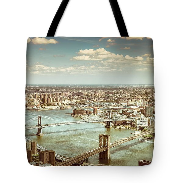 New York City - Brooklyn Bridge And Manhattan Bridge From Above Tote Bag by Vivienne Gucwa