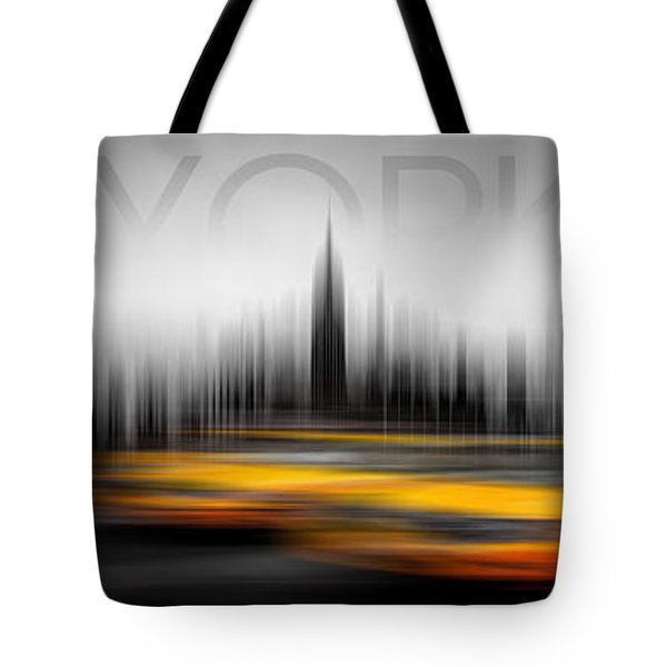 New York City Cabs Abstract Tote Bag