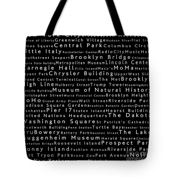 New York City In Words Black Tote Bag