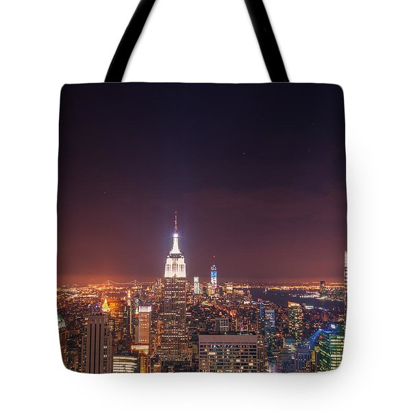 New York City Lights At Night Tote Bag by Vivienne Gucwa