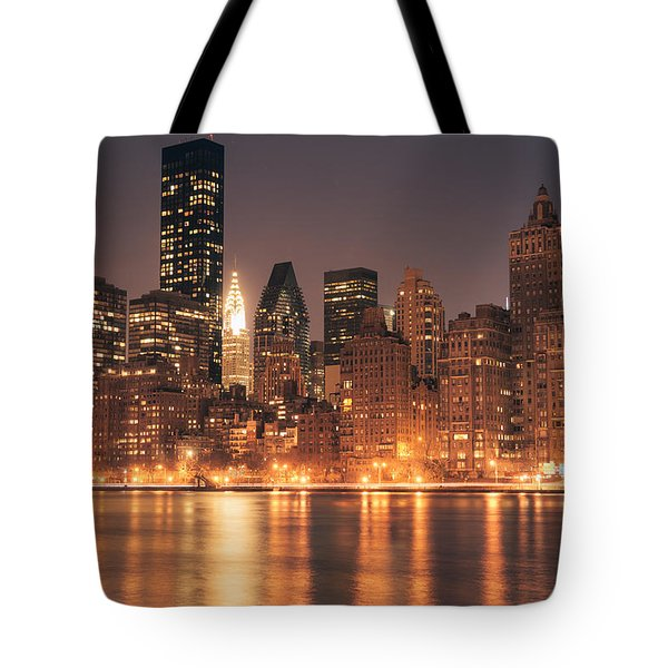 New York City Lights - Skyline At Night Tote Bag by Vivienne Gucwa