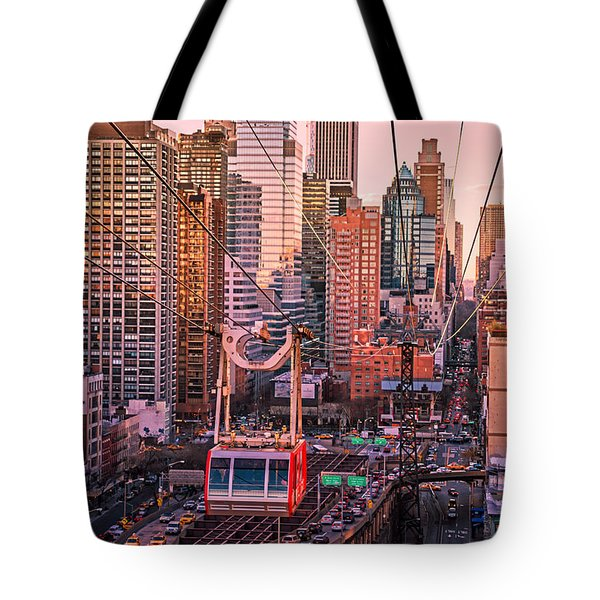 New York City - Skycrapers And The Roosevelt Island Tram Tote Bag by Vivienne Gucwa