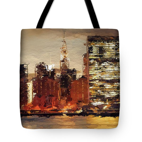 New York City Skyline Abstract 2 Tote Bag by Anthony Fishburne