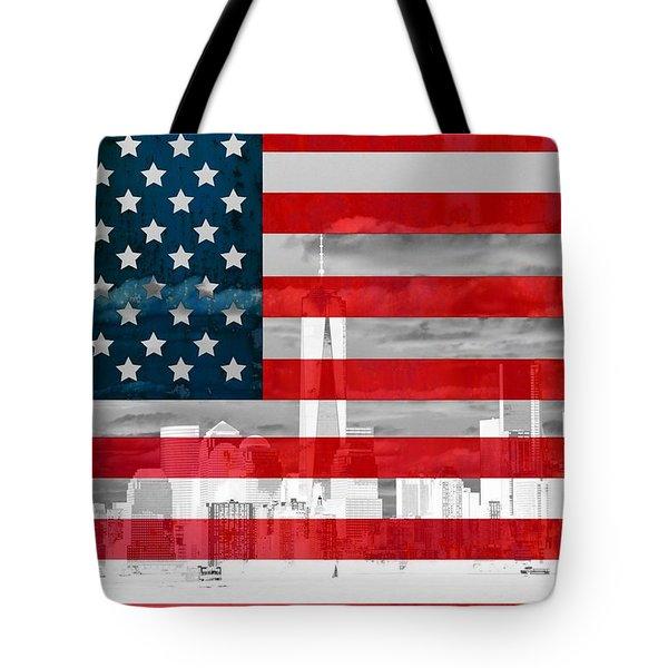 New York City Skyline And American Flag Tote Bag