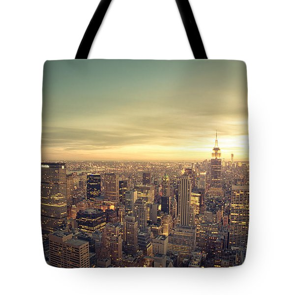 New York City - Skyline At Sunset Tote Bag by Vivienne Gucwa