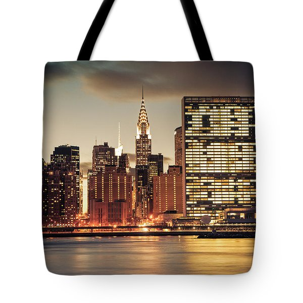 New York City Skyline - Evening View Tote Bag by Vivienne Gucwa
