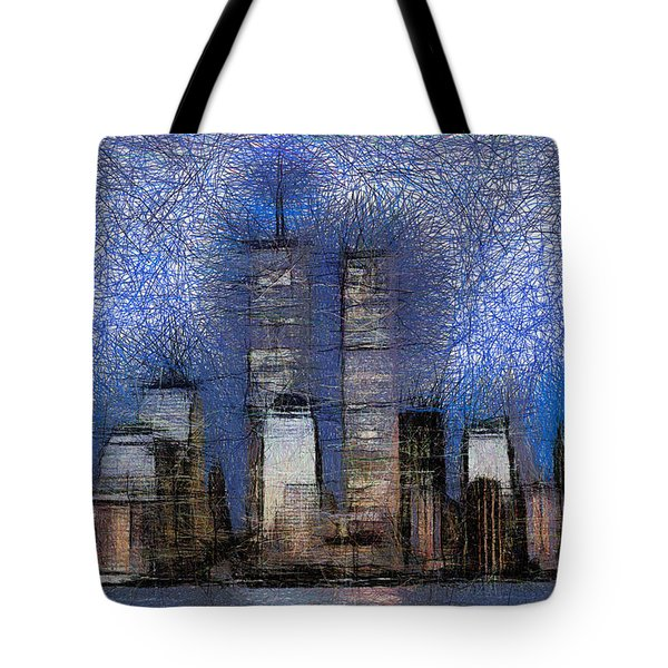 New York City Blue And White Skyline Tote Bag by Georgi Dimitrov