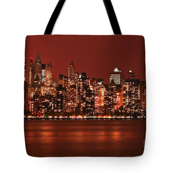 New York City Skyline In Red Tote Bag
