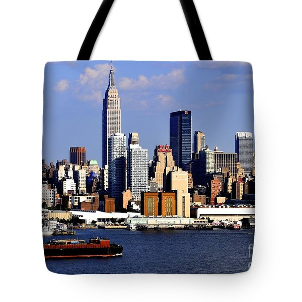 New York City Skyline With Empire State And Red Boat Tote Bag by Kathy Flood