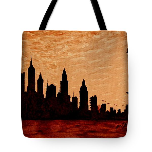 New York City Sunset Silhouette Tote Bag by Georgeta  Blanaru