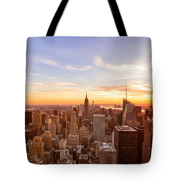 New York City - Sunset Skyline Tote Bag by Vivienne Gucwa