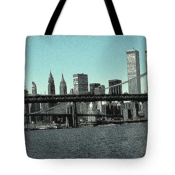 New York Downtown Manhattan Skyline - Blue Panorama Tote Bag