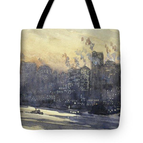 New York Harbor And Skyline At Night Circa 1921 Tote Bag