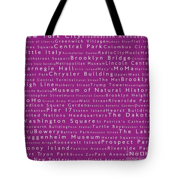 Lincoln center tote bags fine art america new york in words pink tote bag publicscrutiny Choice Image