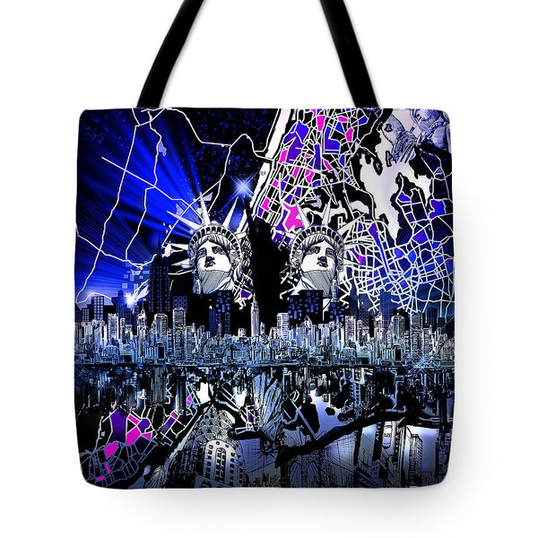 New York Map Abstract 4 Tote Bag