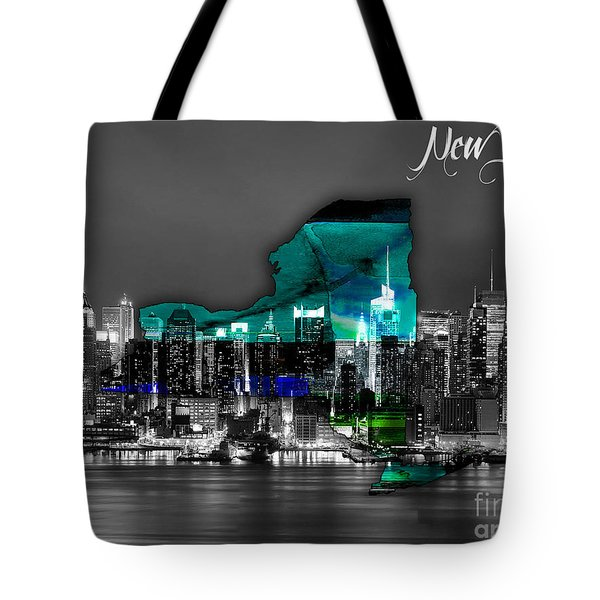 New York Map And Skyline Watercolor Tote Bag